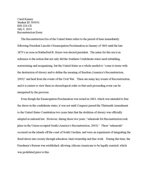 Reconstruction Essay by Reconstruction Essays Free Exle Photo Essay Essay Papers Exles Template Exle Of