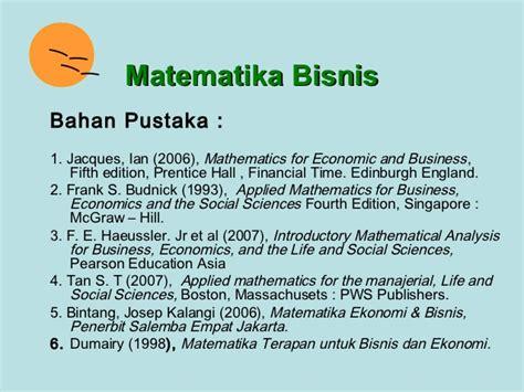 Pengantar Matematika Untuk Ilmu Ekonomi Dan Bisnis M Nababan 1 matematika bisnis1