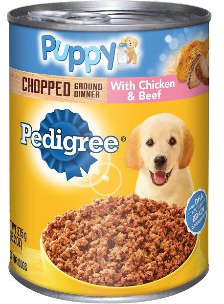 pedigree puppy food reviews pedigree puppy chopped ground dinner with chicken beef canned food 13 2 oz