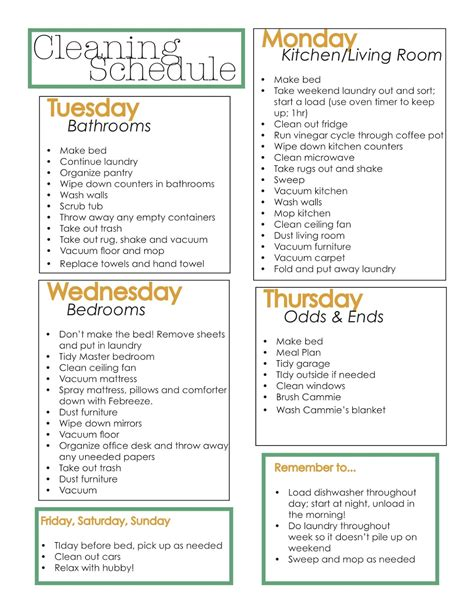 home cleaning schedule new calendar template site