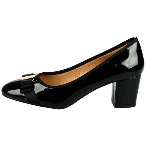 womens mid block heel court shoes work office smart