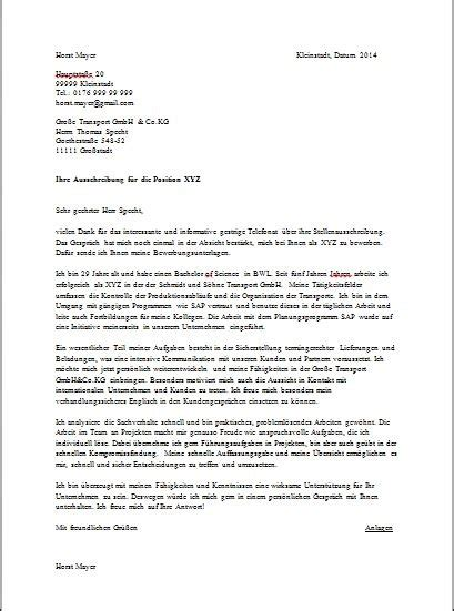 Thank You Letter To In German Sle German Cover Letter Joblers