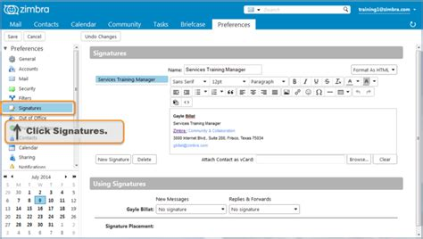 Zimbra Email Templates by Creating An Email Signature Zimbra Tech Center