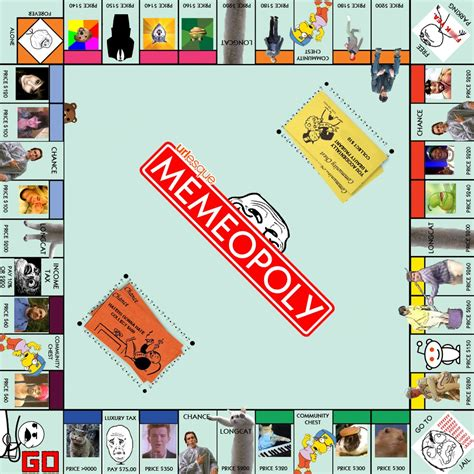 Meme Board Game - memeopoly an internet meme version of monopoly