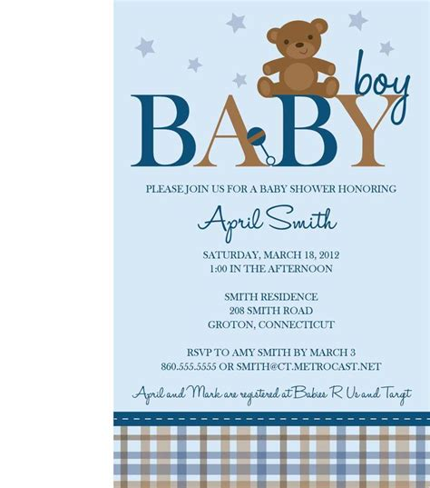 teddy bear baby shower templates baby shower invitations