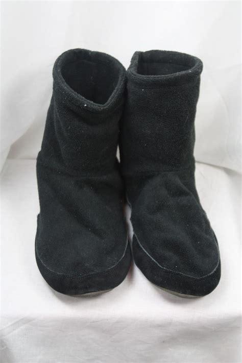 landsend slippers lands end mens black fleece suede sole bootie slippers