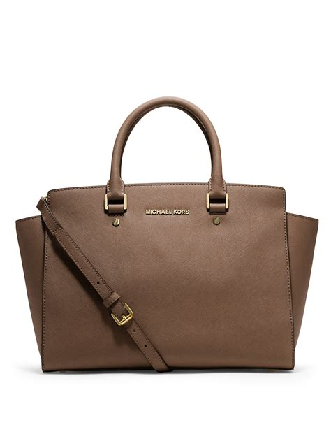 lyst michael michael kors selma saffiano leather large satchel in brown