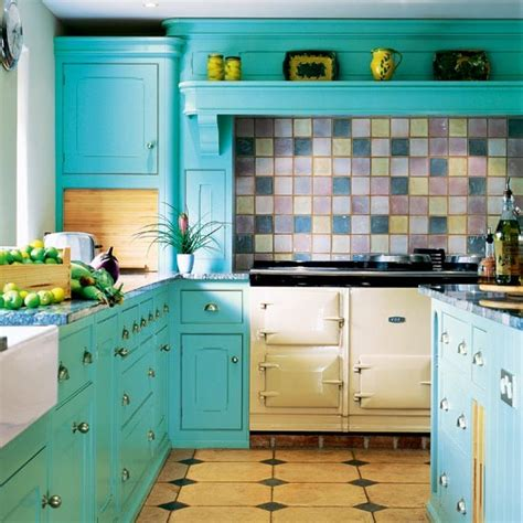 Turquoise Painted Kitchen Cabinets Kitchen Colour Schemes Kitchen Decorating Ideas Photo Gallery Housetohome Co Uk