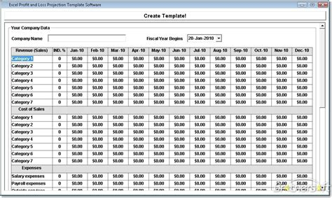 Profit And Loss Template Excel Free free excel profit and loss projection template