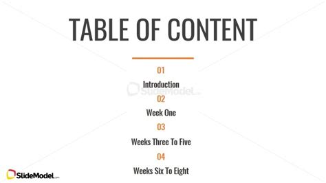 Table Of Content Slide Design Slidemodel Powerpoint Table Of Contents Template