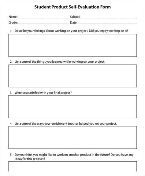student self evaluation form teacheng us