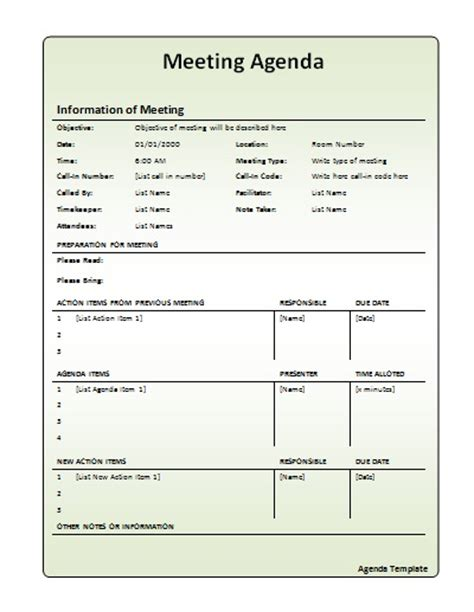 meeting agenda template work pinterest template pta