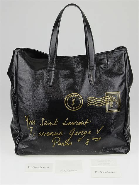 Yves Laurent Y Mail Tote Purses Designer Handbags And Reviews At The Purse Page by Yves Laurent Black Patent Leather Y Mail Large Tote