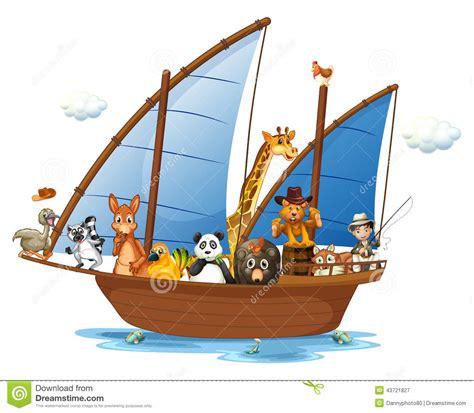 animal cartoon on boat animals on boat stock vector illustration of clipart