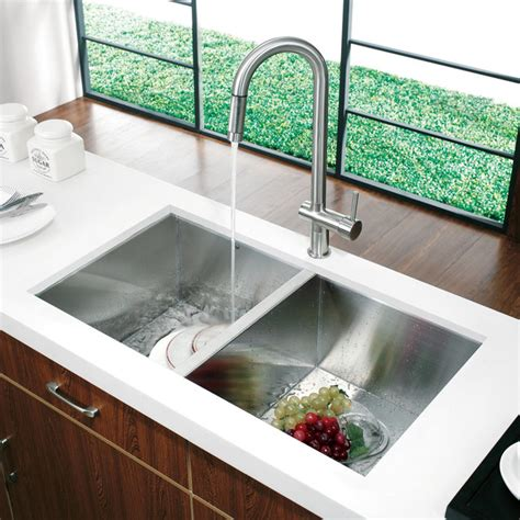 Modern Undermount Kitchen Sinks Vg14008 32 Quot Undermount Stainless Steel Kitchen Sink And Faucet Modern Kitchen Sinks New