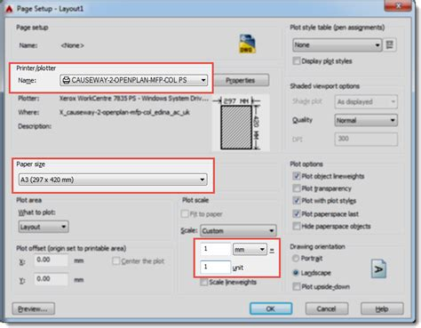 printable area in autocad custom paper size autocad
