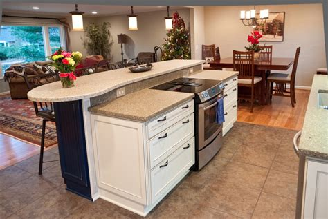 kitchen island with stove custom kitchen remodeling and modern design by atmosphere