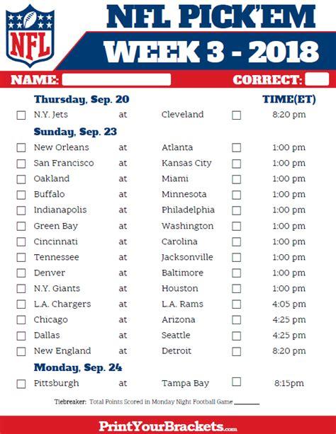 pick sheets printable nfl week 3 schedule pick em pool 2018