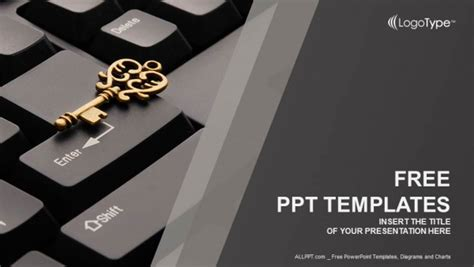 powerpoint templates computer theme key on computer keyboard powerpoint templates
