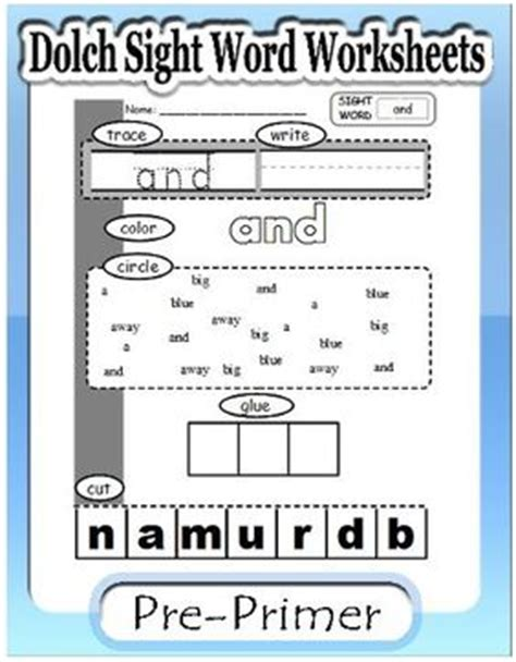 Dolch Sight Word Worksheets For Free by Dolch Sight Word Worksheets Preprimer S