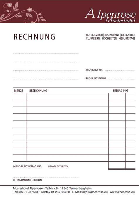 Hotelrechnung Vorlage Hotelrechnung Musterformular Durchschreibsatz