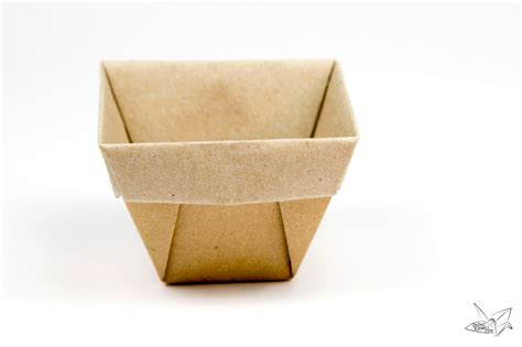 Folded Paper Boxes - tapered origami box origami plant pot tutorial paper