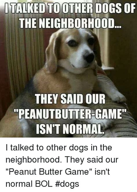 Peanut Butter Meme - italked toother dogs of the neighborhood they said our