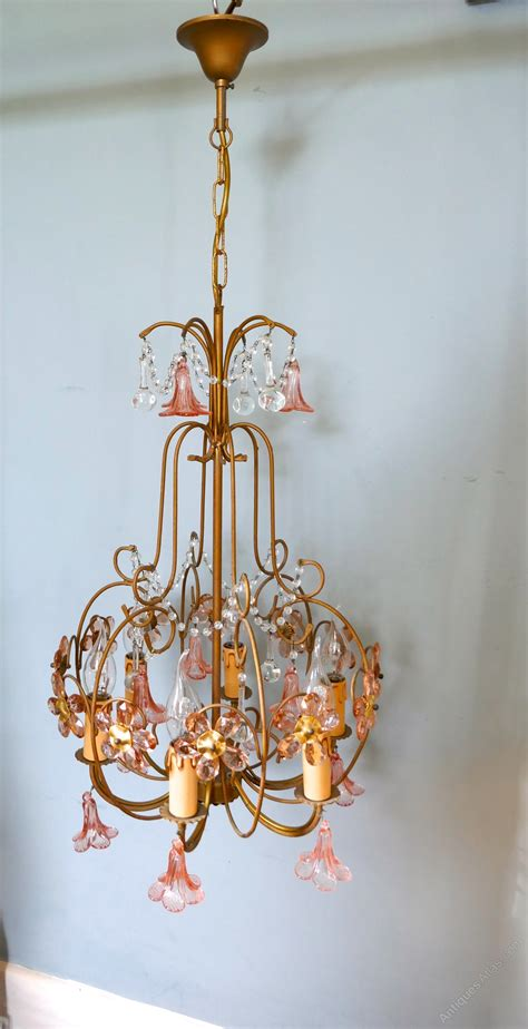 Antiques Atlas French Pink Glass Chandelier Light Fitting Pink Chandelier L