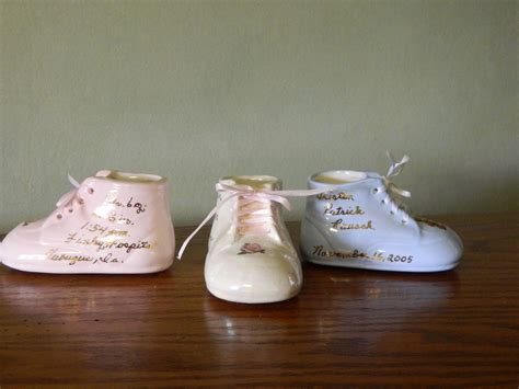 personalized shoes for personalized ceramic high top baby shoe gift ebay