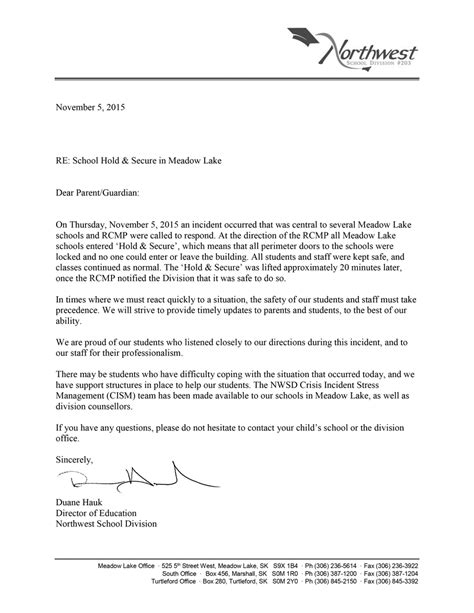Business Letter Thank You For Cooperation Northwest Sd 203 On Quot Nov 5 Letter To Parents Regarding Today S Incident Thank You For