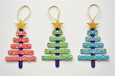 icestick crismax tree glittering popsicle stick trees made with sticker rhinestones