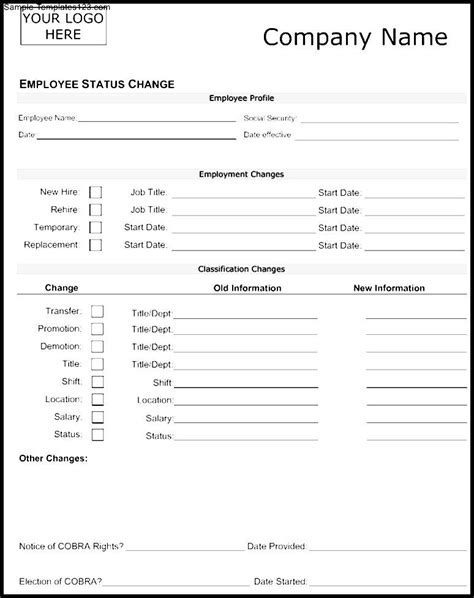 employee change form template employee change form availability schedule template