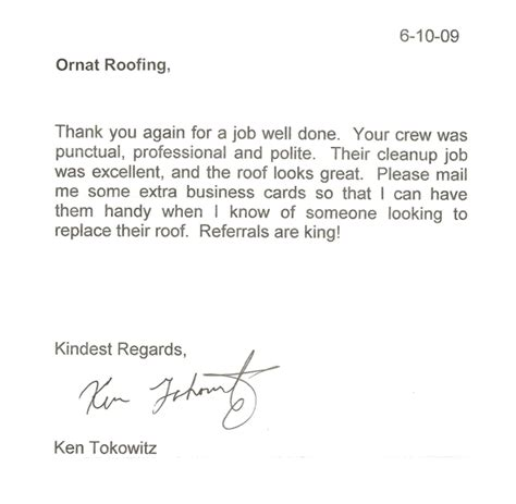 Thank You For A Well Done by Testimonials Ornat Roofing Corp