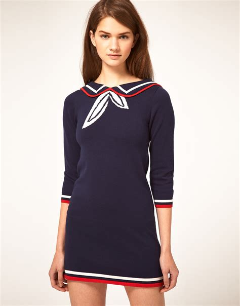 Blue Sailor Wide Collar Blouse lyst asos collection knitted dress with sailor collar in blue