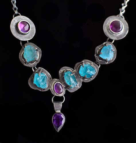 17 rough apatite amethyst prong set necklace 2 jewelry