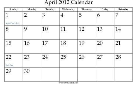 April 2012 Calendar April 2012 Printable Calendar 171 Printable Hub