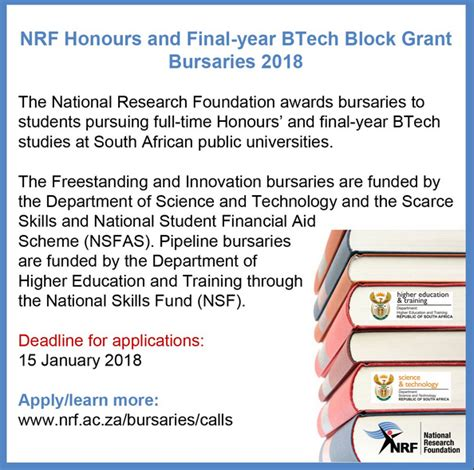 Mba Bursaries 2018 by National Research Foundation Nrf Honours Year B