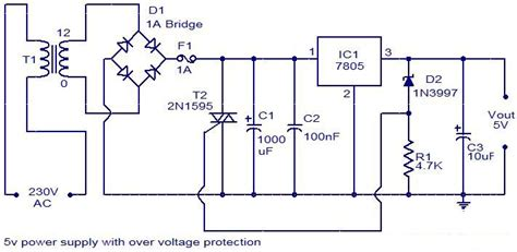 12v 5v power supply circuit diagram 5v power supply with overvoltage protection