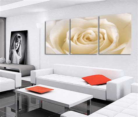 large living room wall art 3 piece romantic canvas painting rose flower oil painting