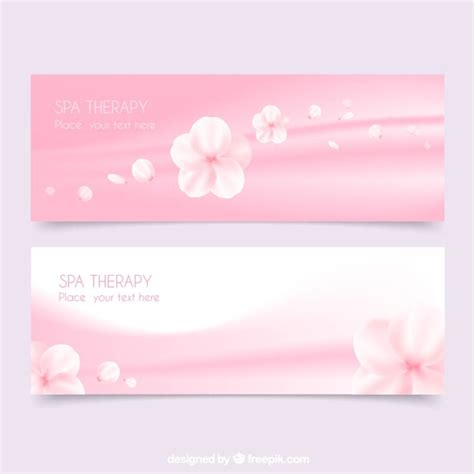 pink black what color spa banners in pink color with flowers vector free