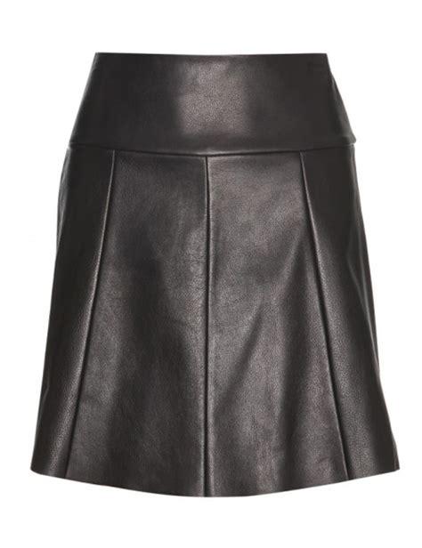 vibtler leather knee length skirt leather4sure black