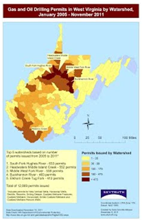 gas and oil drilling permits in west virginia by watershed