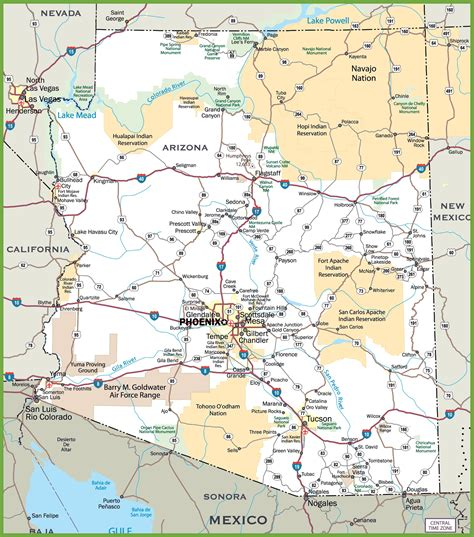 map of and arizona arizona road map