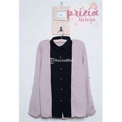 Kemeja Pink Boutique 3 kemeja wanita lengan panjang warna pink navy grey blue harga murah jakarta dijual tribun