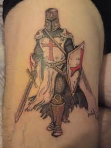 cool styled and detailed english knight warrior tattoo on
