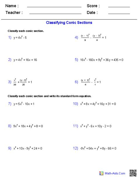 identifying conic sections algebra 2 worksheets conic sections worksheets