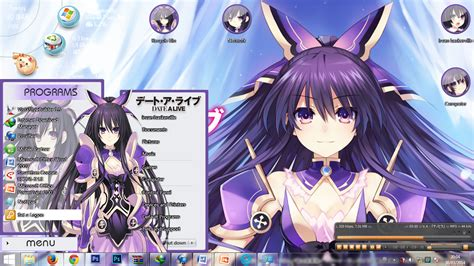 anime computer themes windows 7 anime skin theme win 7 tohka yatogami by baskerville21