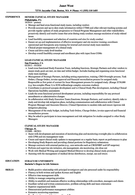 Clinical Study Manager Sle Resume by Clinical Study Manager Resume Sles Velvet