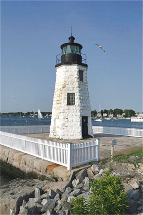 Newport Harbor Light by Newport Harbor Goat Island Lighthouse Rhode Island At
