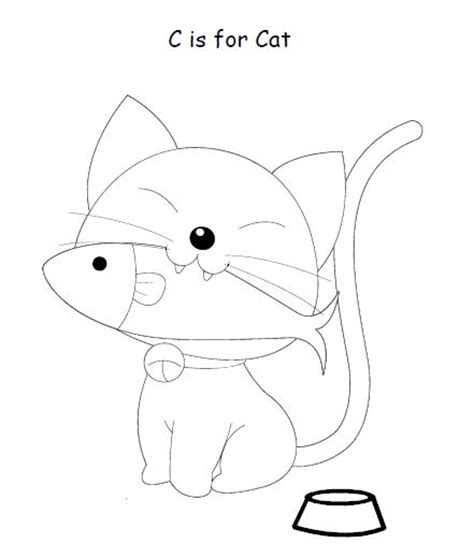 c is for cat kids coloring pages pinterest